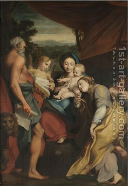 Madonna Of St Jerome by (after) Correggio, (Antonio Allegri) - Reproduction Oil Painting