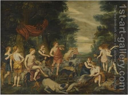 Diana And Her Nymphs Resting After The Hunt by (after) Sir Peter Paul Rubens - Reproduction Oil Painting