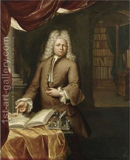 Portrait Of A Gentleman, Three-Quarter Length, In His Study by Hieronymus Van Der Mij - Reproduction Oil Painting