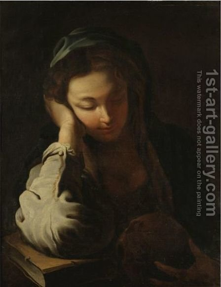 The Penitent Magdalen by (after) Domenico Fetti - Reproduction Oil Painting