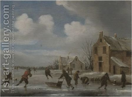 A Winter Landscape With Skaters On A Frozen Lake by (after) Claes Molenaar (see Molenaer) - Reproduction Oil Painting