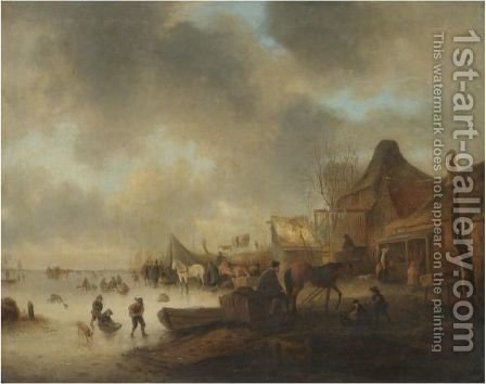 A Winter Landscape With Children Playing On A Frozen River And Travellers Resting With Their Horses by (after) Claes Molenaar (see Molenaer) - Reproduction Oil Painting