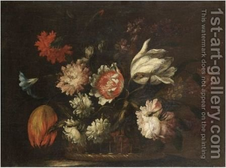 A Still Life With Tulips, Morning Glory And Various Other Flowers In A Basket On A Ledge by (after) Bartolome Perez - Reproduction Oil Painting