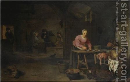 An Interior With A Peasant Woman Gutting Fish by (after) Hendrick Maertensz. Sorch (see Sorgh) - Reproduction Oil Painting