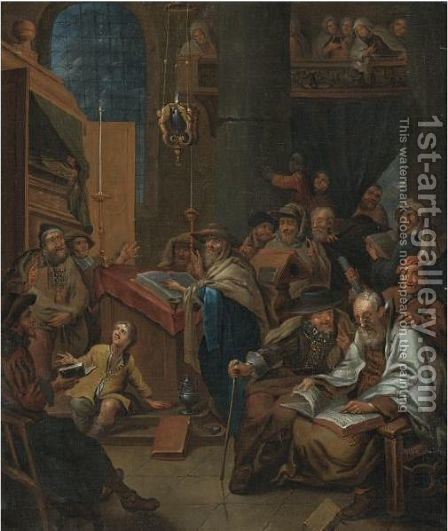 A Synagogue Interior With Scholars Reading Clerical Texts, Possibly An Allegory by (after) Gerard Thomas - Reproduction Oil Painting