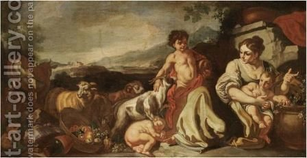 A Landscape With A Peasant Family And Their Animals by (after) Francesco Solimena - Reproduction Oil Painting
