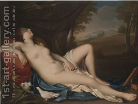 Venus Sleeping In A Landscape With Two Doves In The Foreground by (after) Giovanni Antonio Pellegrini - Reproduction Oil Painting