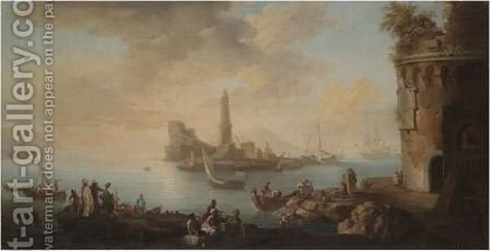 A Mediterranean Harbour Scene With Figures Unloading Freight From Boats And Tradesmen In The Foreground, A Lighthouse Beyond by (after)  Claude-Joseph Vernet - Reproduction Oil Painting