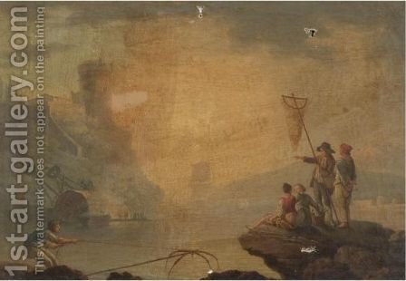 A Mediterranean Coastal Scene With Fishermen And Women On Rocks In The Foreground by (after)  Claude-Joseph Vernet - Reproduction Oil Painting