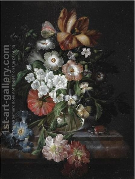 A Still Life With Carnations, An Iris, Morning Glory And Other Flowers In A Glass Vase On A Ledge With A Beetle by (after) Johann Adalbert Angermayer - Reproduction Oil Painting