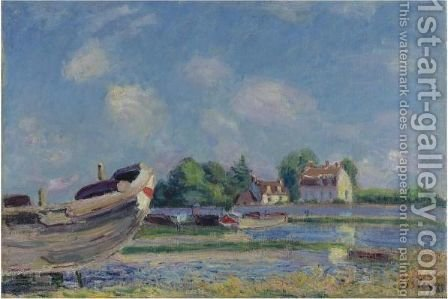 Bateaux En Reparation A Saint-Mammes by Alfred Sisley - Reproduction Oil Painting