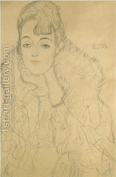 Portrait Of A Lady, Frontal View by Gustav Klimt - Reproduction Oil Painting