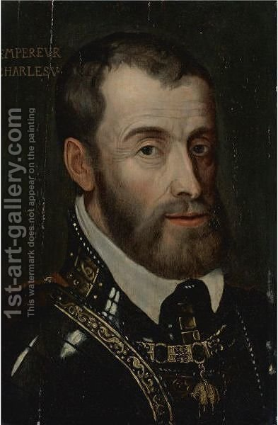 Portrait Of Emperor Charles V by (after) Tiziano Vecellio (Titian) - Reproduction Oil Painting