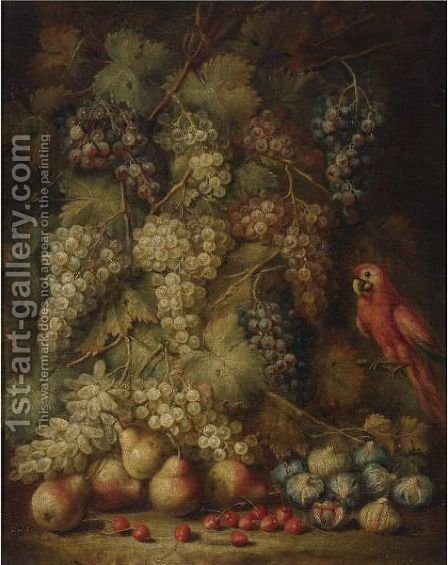 Still Life With Grapes And Parrot by (after) Abraham Brueghel - Reproduction Oil Painting