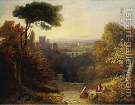 Italianate Landscape With Travelers Resting And A Castle Beyond by (after) William Havell - Reproduction Oil Painting