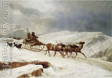 A Brisk Reindeer Sleigh Ride by Andras Marko - Reproduction Oil Painting