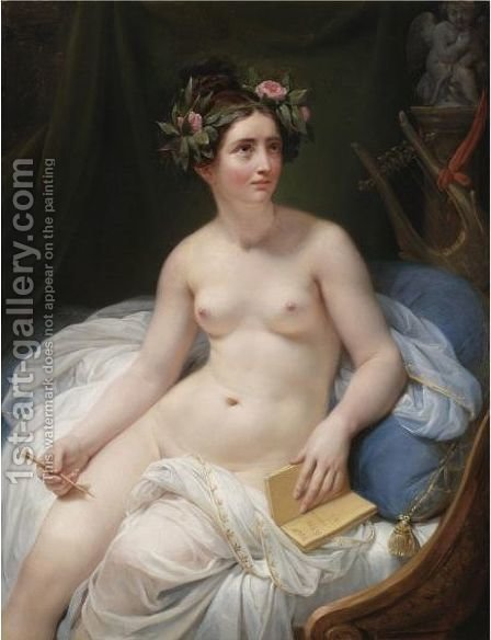 The Poetess Sappho by (after) David, Jacques Louis - Reproduction Oil Painting
