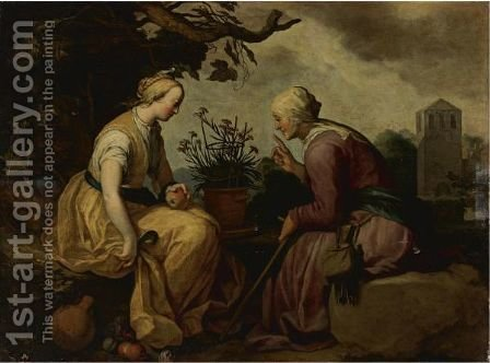Vertumnus And Pomona by Abraham Bloemaert - Reproduction Oil Painting