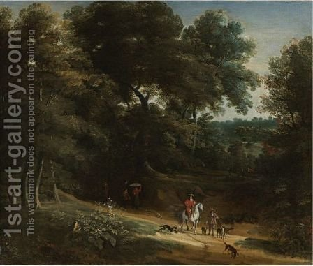 Landscape With Hunters by (after) Jan Baptist Huysmans - Reproduction Oil Painting