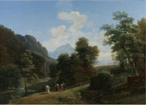 Reproduction oil paintings - Jean-Victor Bertin - A Classical Landscape With Marius Fleeing Rome At The Approach Of Sylla 2