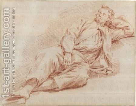 A Young Man Reclining Asleep by (after) Cornelis (Pietersz.) Bega - Reproduction Oil Painting