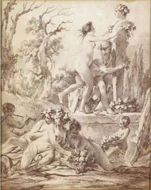 Reproduction oil paintings - Jean-Baptiste-Marie Pierre - A Bacchanale Naked Nymphs Decorating A Herm
