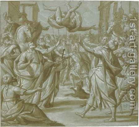 The Fall Of Simon Magus by Giovanni Mauro Della Rovere (Il Fiammenghino) - Reproduction Oil Painting