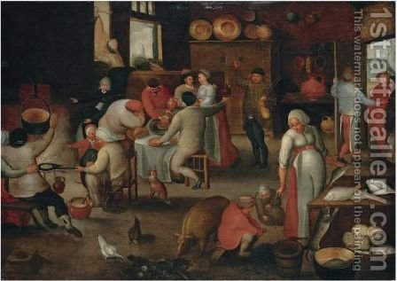 The Interior Of An Inn With Mary And Joseph Refused Entry At The Door by (after) Marten Van Cleve - Reproduction Oil Painting