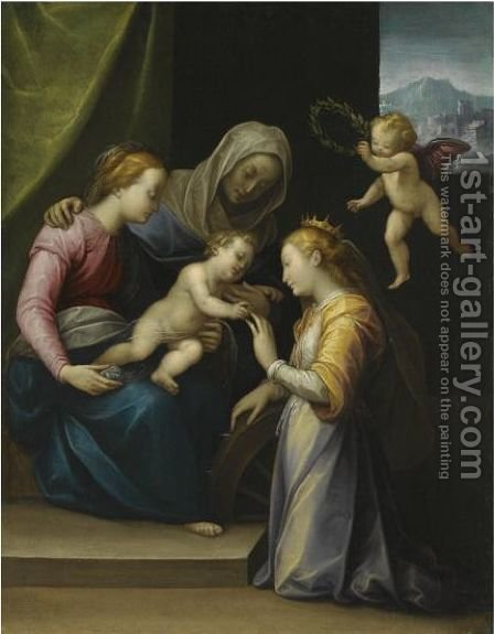 The Mystic Marriage Of Saint Catherine by (after) Guglielmo Caccia - Reproduction Oil Painting