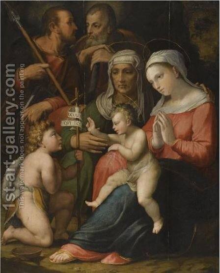 The Holy Family With Saint Anne And The Infant Saint John The Baptist by (after) Bartolommeo Ramenghi The Elder, Il Bagnacavallo - Reproduction Oil Painting