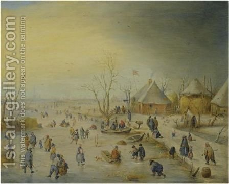 A Winter Landscape With Kolf Players, Skaters And Numerous Other Figures by Hendrick Avercamp - Reproduction Oil Painting
