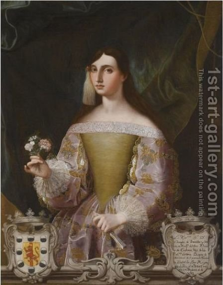 Portrait Of Dona Josefa De Benavides, Marquesa De Villena Y Duquesa De Escalona (1662-1725) by Alonso Miguel De Tovar - Reproduction Oil Painting