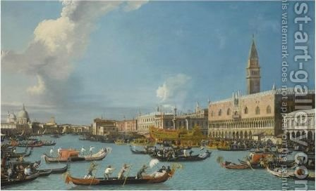 Venice, The Return Of The Bucintoro On Ascension Day by (after) (Giovanni Antonio Canal) Canaletto - Reproduction Oil Painting