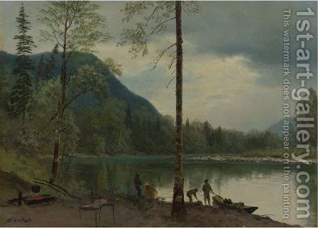 Campers With Canoes by Albert Bierstadt - Reproduction Oil Painting