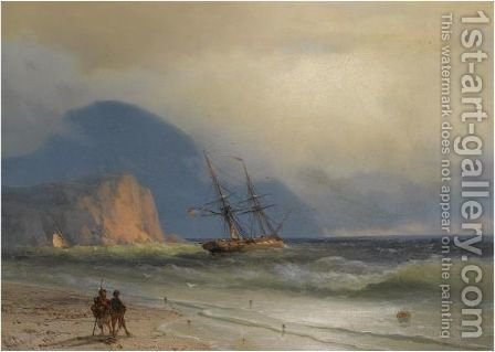 Shipping Off The Ayu Dag by Ivan Konstantinovich Aivazovsky - Reproduction Oil Painting
