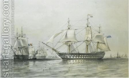The Fleet Off Hango by (after) Sir Oswald Walters Brierly - Reproduction Oil Painting