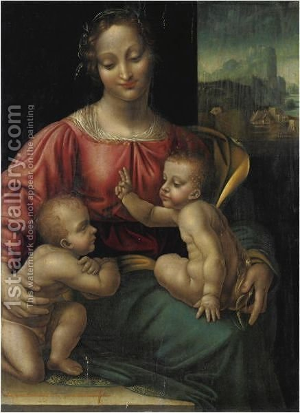 Madonna Col Bambino E San Giovannino by (after) Cesare Da Sesto - Reproduction Oil Painting