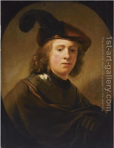 Portrait Of A Young Man, Half Length, Wearing A Brown Plumed Beret And A Brown Coat With A Gorget by (after) Harmenszoon Van Rijn Rembrandt - Reproduction Oil Painting