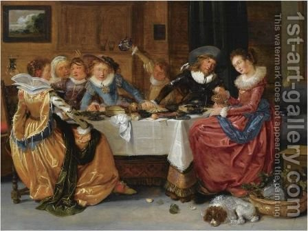 An Elegant Merry Company, Seated Around An Abundantly Laid Table, Drinking, In A Richly Decorated Interior by Hendrick Gerritsz Pot - Reproduction Oil Painting