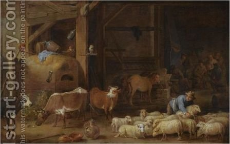 A Barn Interior With A Peasant And His Flock Of Sheep And Cattle by (after)  David The Younger Teniers - Reproduction Oil Painting