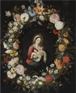 The Virgin And Child In A Garland Of Roses, Forget-Me-Nots, Daisies, Snowdrops, A Lily, A Parrot Tulip And Other Flowers