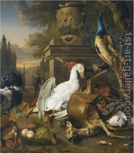 A Still Life With A Peacock, A Swan, A Deer, A Dog, A Monkey, A Pheasant And Other Game Birds by (after) Jan Weenix - Reproduction Oil Painting