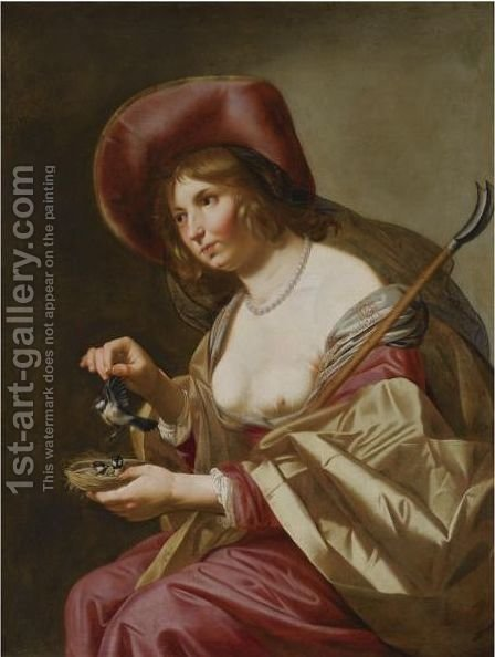 A Young Shepherdess by (after) Jan Van Bijlert - Reproduction Oil Painting
