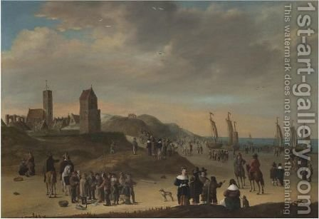 Elegant Figures Strolling On The Beach At Egmond Aan Zee, Sailing Vessels Moored On Shore by (after) Cornelis Beelt - Reproduction Oil Painting
