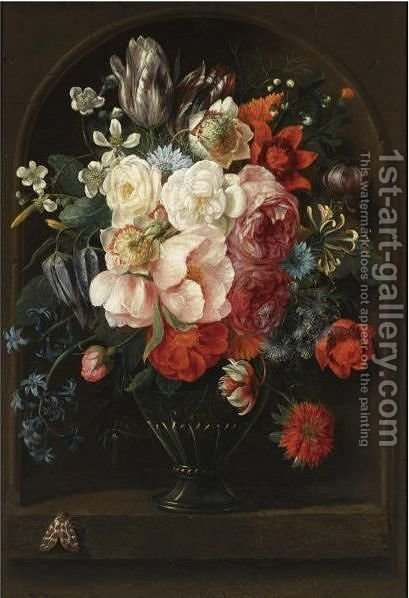 A Still Life Of Roses, Parrot Tulips, A Hyacinth, Honeysuckle, Anemones And Other Flowers In A Glass Vase by (after) Joris Van Son - Reproduction Oil Painting