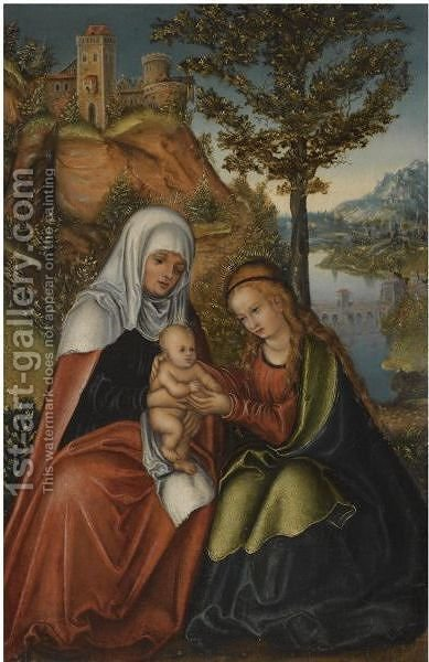 The Madonna And Child With Saint Anne In A Landscape by (after) Lucas The Elder Cranach - Reproduction Oil Painting