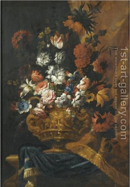 Still Life With Flowers In An Elaborate, Sculpted Bronze Urn, Resting On A Stone Ledge by (after) Pieter Casteels III - Reproduction Oil Painting