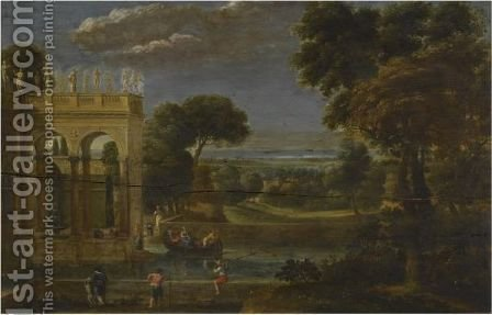 A Classical Wooded Landscape With Figures By A Palace by (after) Gian Battista Viola - Reproduction Oil Painting