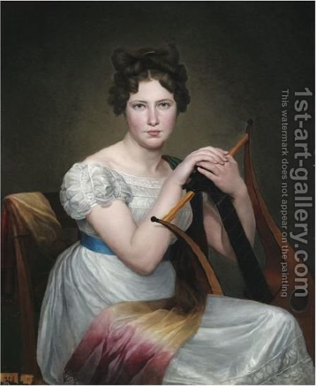 Portrait Of A Young Lady, Seated, In A White Dress, Holding A Lyre by Adele Romany - Reproduction Oil Painting