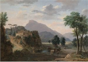 Reproduction oil paintings - Jean-Victor Bertin - An Italianate Landscape With A Herder And His Cows Before A Hilltop Town